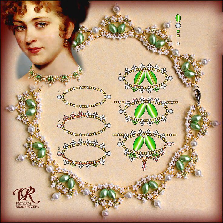 Kostenlose Muster für Halskette Renaissance von Viktoria Rumiantzeva | Perlen Magische