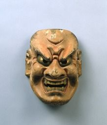 Noh mask, Shikami (an evil spirit), one of 47 Noh masks formerly owned by Konparu Sōke (the leading family of the Konparu school), Wood, colored Muromachi-Meiji period/15-19th century Originally owned by Konparu-za. Tokyo National Museum.
