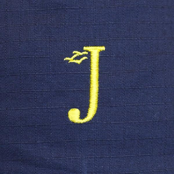 Jack Dusty Clothing - Close-up of The Navy Alwyn Bucket Hat with a yellow embroidered J and seagulls logo
