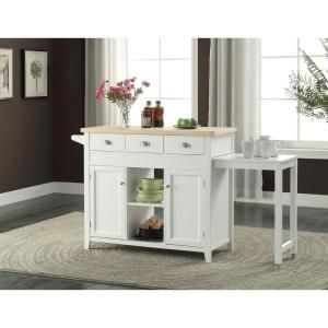 Linon Home Decor Sheridan White Kitchen Cart With Towel Bar K464905WHTABU at The Home Depot - Mobile