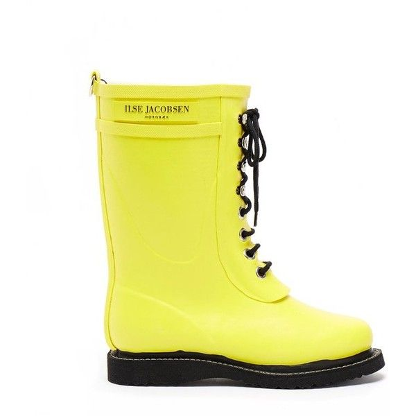 Rub15 Yellow Mid Lace Wellington Boot ❤ liked on Polyvore featuring shoes and boots