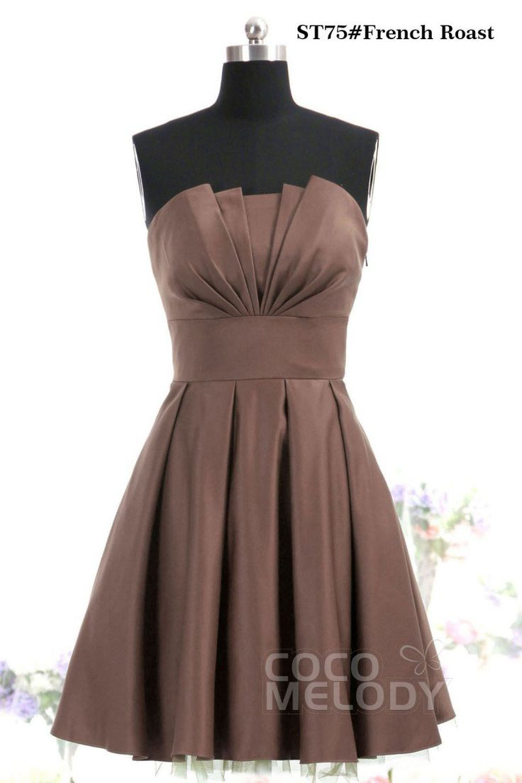 Graceful A-Line Crumb Catcher Natural Knee Length Satin Bridesmaid Dress COJK13002