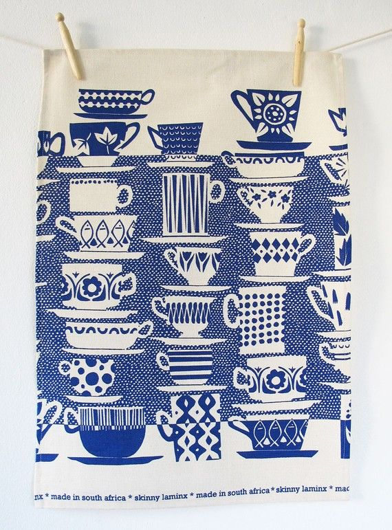 blue & white tea towel