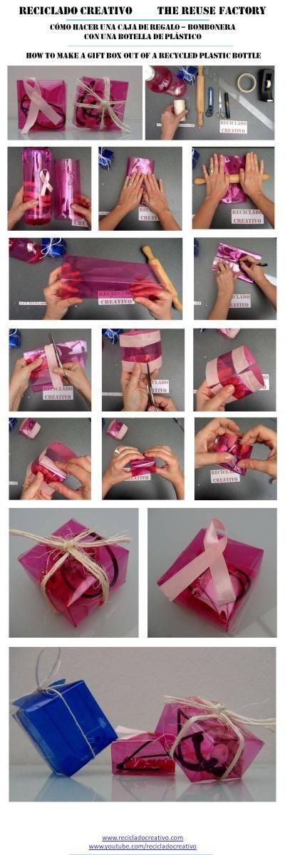 Cajas de regalo bomboneras con botellas de plástico recicladas #gotasdesolidaridad Reciclado Creativo Rosa Montesa