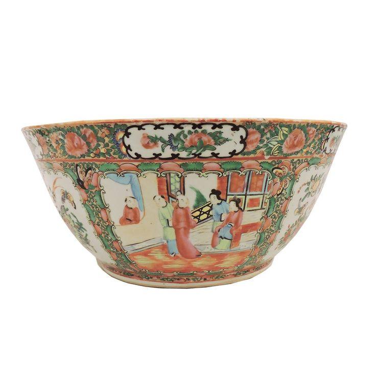 Large Chinese Expert Rose Medallion Porcelain Punch Bowl For Sale at 1stdibs