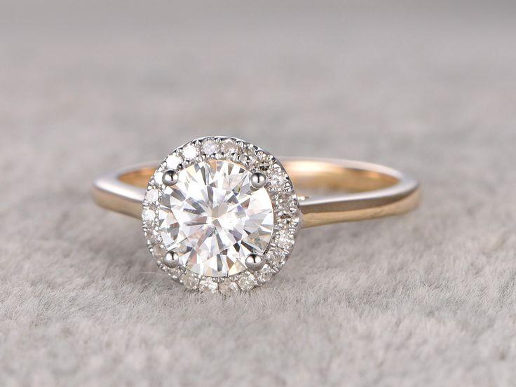 Superb ct brilliant Moissanite Engagement ring Two Tone Plain gold Diamond wedding band Halo Round