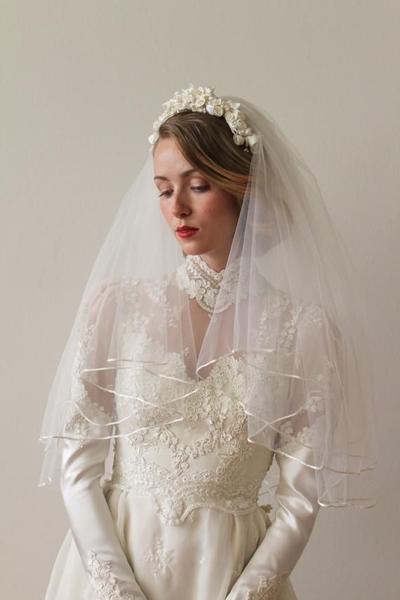 Vintage 1980s Bridal Flower Crown With Attached Elbow Length Veil With Ribbon Edge Elbow Length Veil Bridal Flowers Bridal Flower Crown