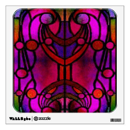 Red and Blue Victorian Stained-Glass Design Wall Decal - vintage gifts retro ideas cyo