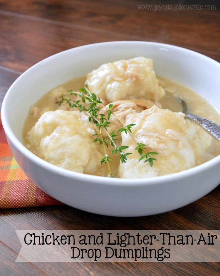 Enjoy this hearty, comforting, broth-y dish that is chocked full of tender chicken and fluffy, light dumplings.