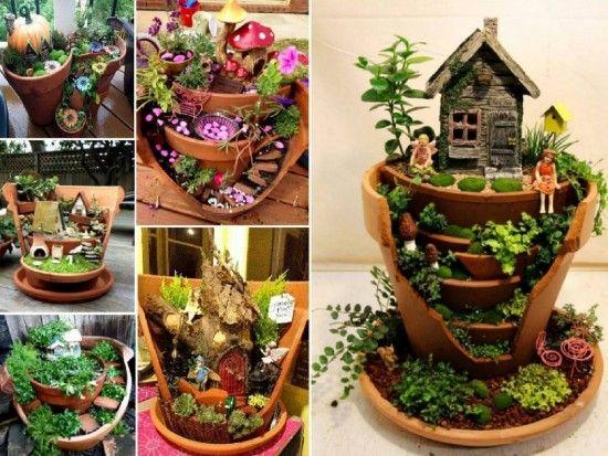 Fairy Gardens in Broken Pots