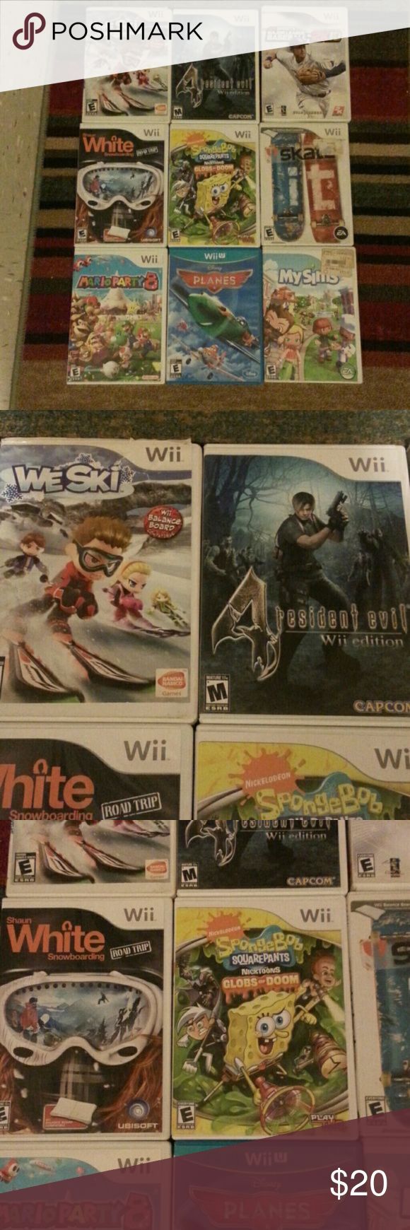 Wii games and 1 wii u WII U GAMES!!!  9 GAMES IN ALL IN GREAT CONDITION!! ONLY PLAYED WITH A FEW TIMES. NO SCRATCHES OR SCUFFS! GAMES INCLUDE WE SKI, RESIDENT EVIL 4, 2K10 BASEBALL, SHAUN WHITE SNOW BOARDING, SPONGEBOB, SKATE IT, MARIO PARTY 8, DISNEYS PLANES FOR THE WII U AND MY SIMS. AII GAMES CAN BE PLAYED ON THE WII U . THE ONLY THING IS THE WII U GAME CAN NOT BE PLAYED ON THE REGULAR WII. SELLING ALL TOGETHER. OR SEPERATE IF YOUR INTERESTED. wii u , wii Other