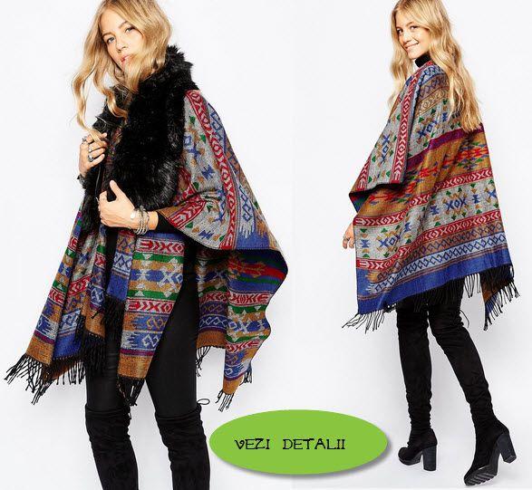 poncho tricotat cu model aztez de la ASOS