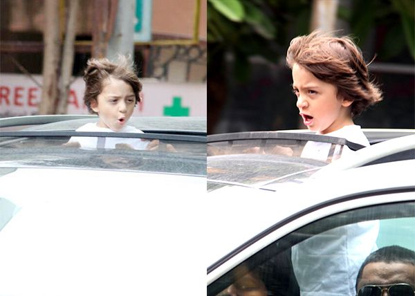 Shah Rukh Khan's son Abram's idea of frolicking around in a swanky ride is too cool and you have to check out the pics!