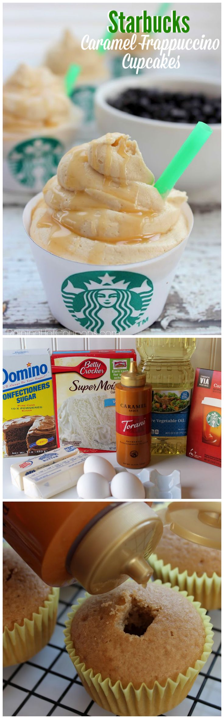 Starbucks Caramel Frappuccino Cupcakes | Shared by Fireman's Finds