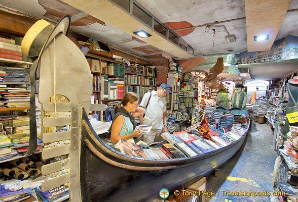 A gondola filled with books at the Libreria Acqua Alta bookstore in Venice