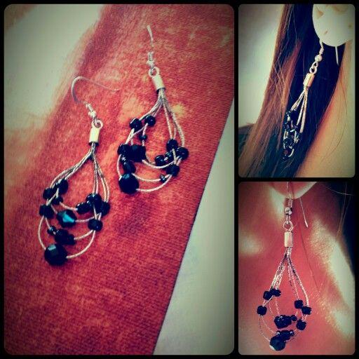 Earrings  -silver - black beads- #createdbyme