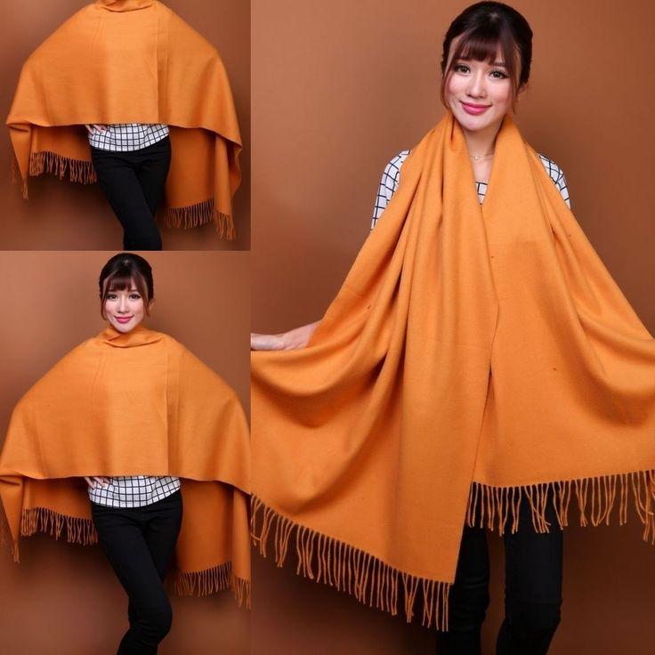 100% Wool Pashmina Shawl Scarves Scarf Gold Yellow Women Beautiful Soft Wrap