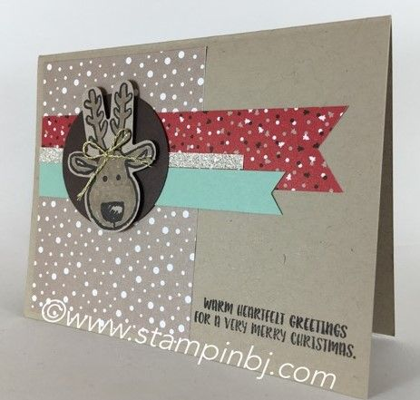 I love how this reindeer using the punch from the Cookie Cutter Christmas bundle!  Check out how this card fits into a gift set on my blog!    #stampinbj.com