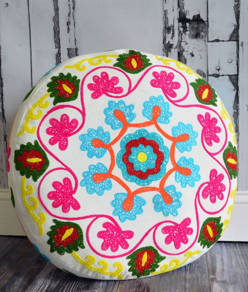 MSRP: $127.50 GLAM: $ 64.99 Buy a Set of 2 for $115.00! This Meditation Cushion in Medallion Design is one of our newest styles! It is larger than our original meditation cushions and features vibrant