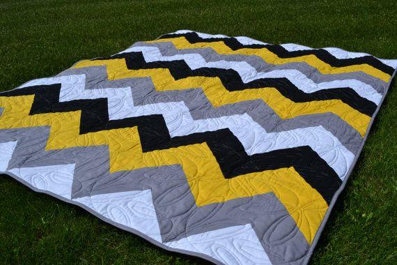Moderno trapunta, trapunta giallo grigio nero Twin geometrica di Chevron, Quilt, decorazione della stanza del dormitorio, divano Throw coperta, trapunta uomo, biancheria gialla per lo sport