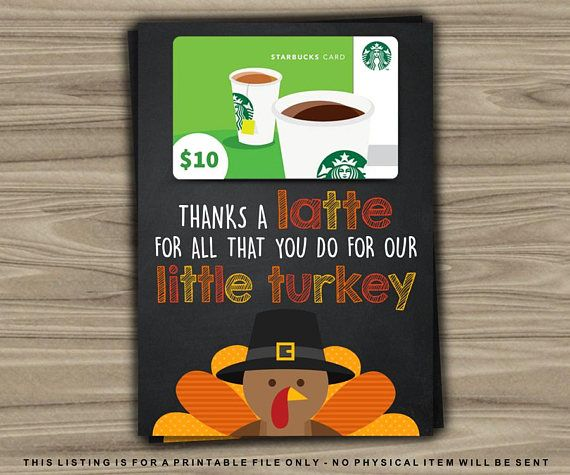 Thanksgiving Gift Card Holder / Thanksgiving Teacher Gift Idea / Last Minute Gift / Thankful / Thansk a Latte For all That You Do For Our Little Turkey / Printable by TheDigiSloth