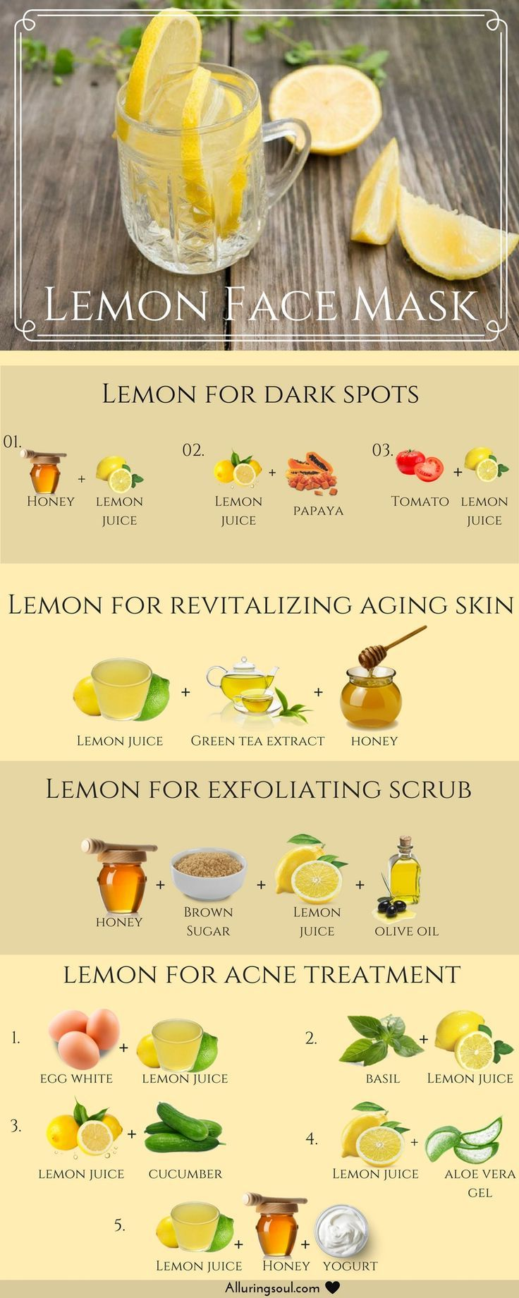Lemons are rich in vitamin C and the flavonoids are said to contain antioxidants, which is why lemon face mask is useful for many skin problems. #naturalskincare #skincareproducts #Australianskincare #AqiskinCare #australianmade
