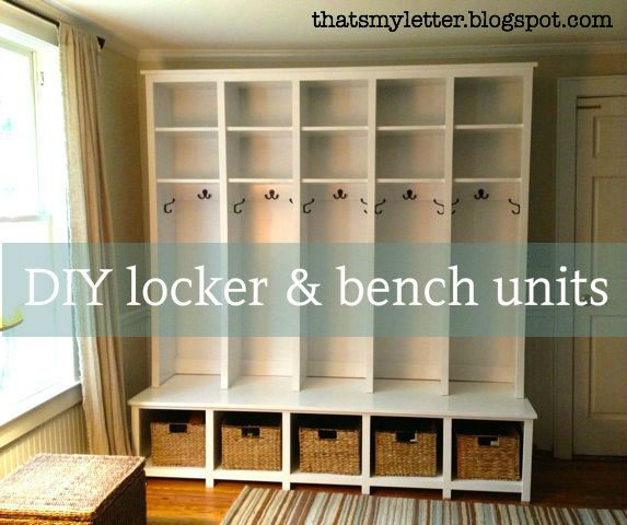 Love. DIY mudroom lockers. Like how the seat comes out so kids can stand on them to get to the upper shelves themselves.