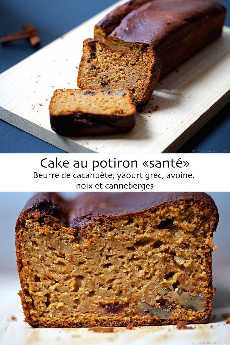 """Bonjour les gourmands :-) Après les cakes à la banane """"santé"""" (recettes ici et là), ainsi que le cake aux carottes, je vous présente mon cake au potiron! Un gâteau aux sucres et graisses """"sains"""", avec les fibres de l'avoine et la gourmandise du miel et des épices po"""