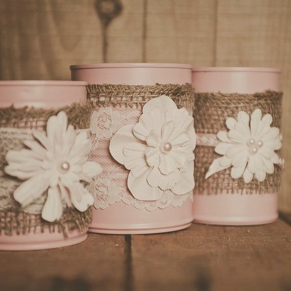 Painted tin can lace and and burlap centerpiece vases