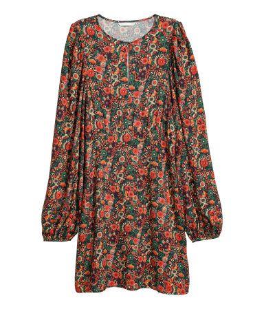 Mønstret kjole | Oransje/Blomstret | DAME | H&M NO