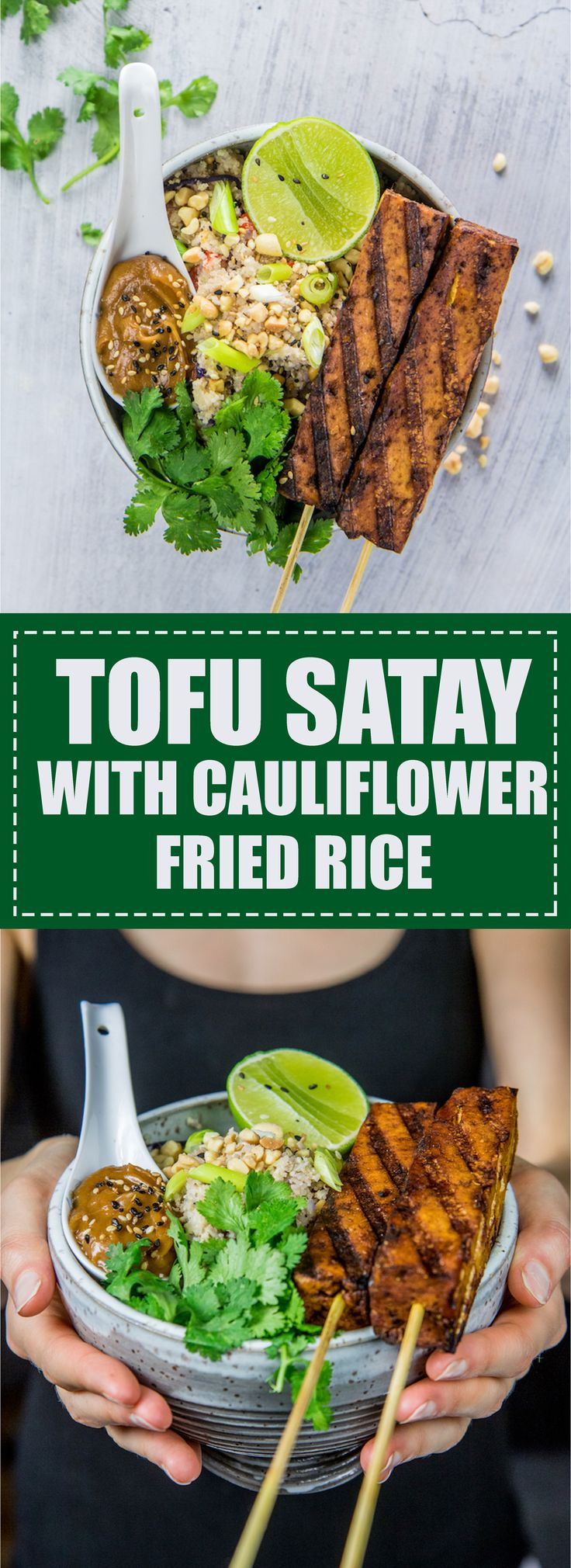 This tofu satay with cauliflower fried rice is a healthy favourite in my house! Vegan & gluten-free.