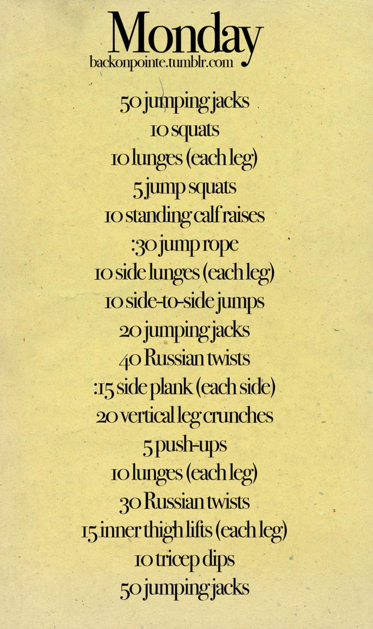 Monday-Sunday workout plan. Thinking of following this for summer.