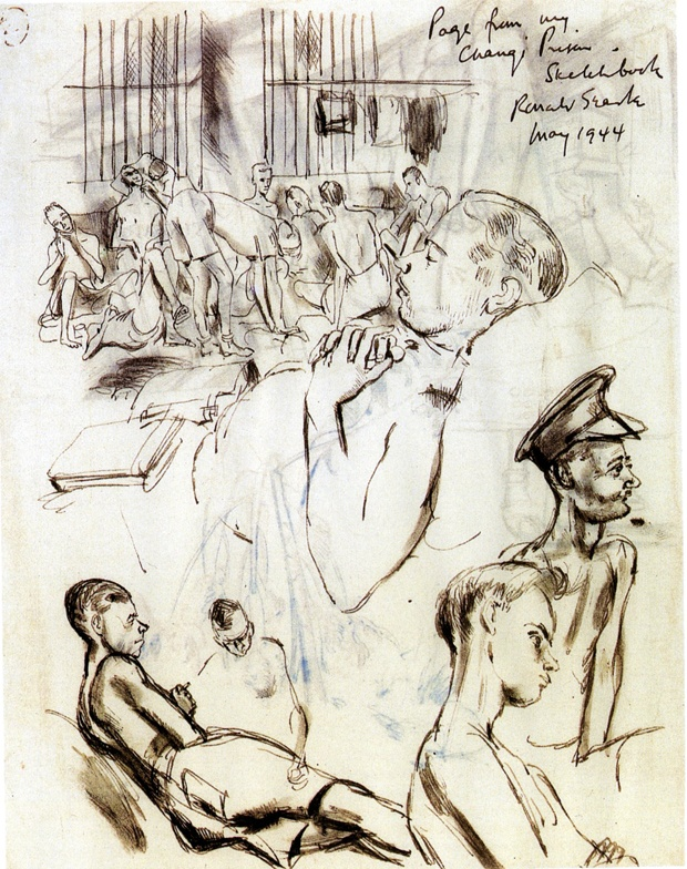 Drawing of Prisoners by Ronald Searle. Page from Changi Prison sketchbook
