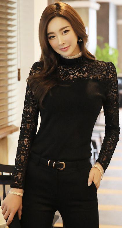 StyleOnme_Sparkly Floral Lace Blouse #black #lace #blouse #koreanfashion #kstyle #kfashion #feminine #wintertrend