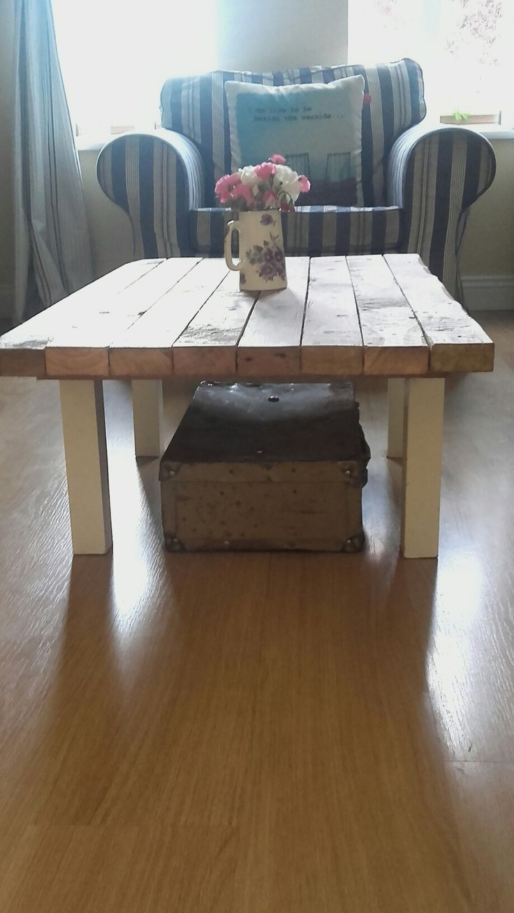 Ikea table topped with scrap wood, vintage suitcase underneath