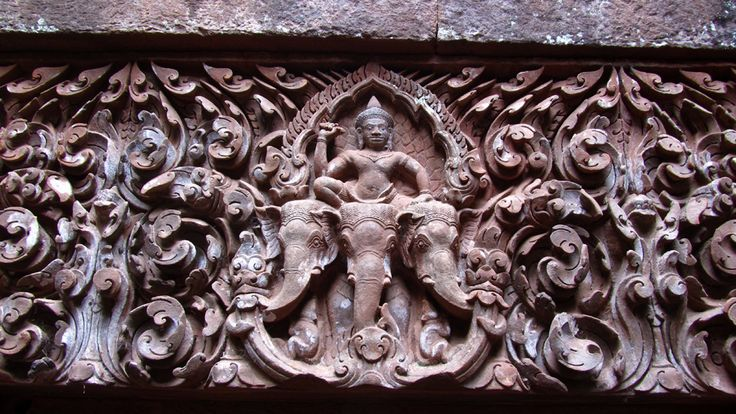 Wat Phou Temple carving in Champasak Province of South Laos (near the boarder of Thailand and Cambodia).