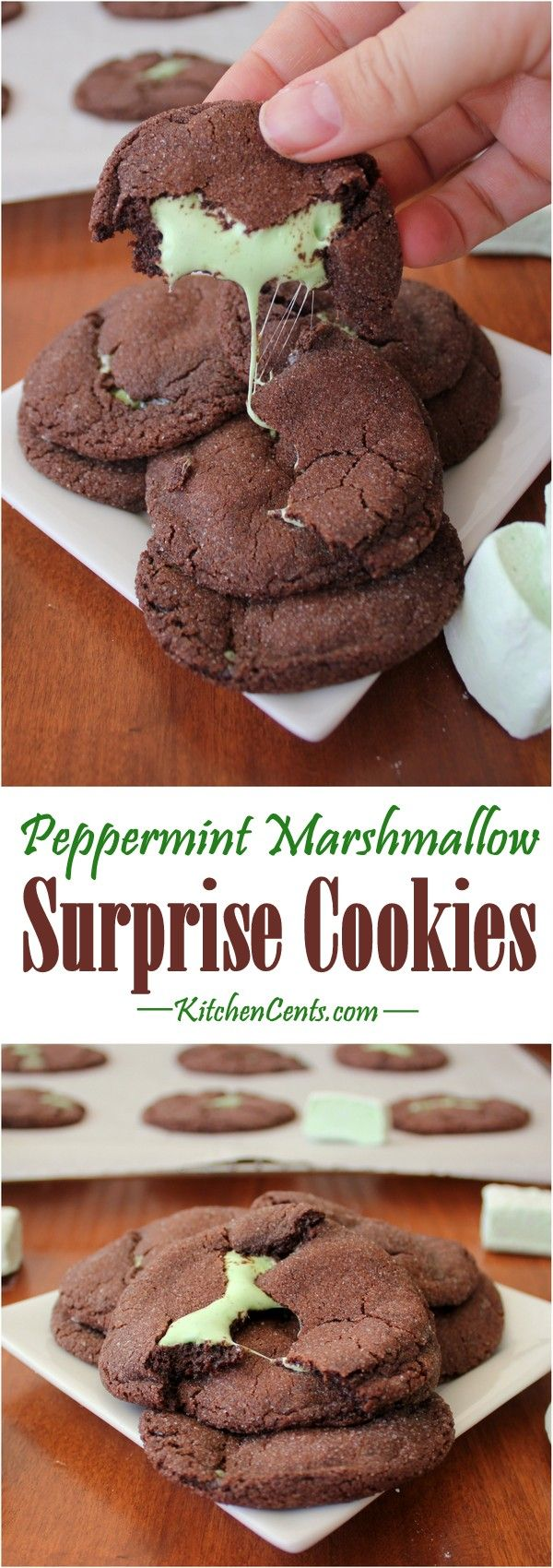 Mint Marshmallow Chocolate Cookie | Soft brownie-like chocolate exterior with a mint marshmallow surprise inside | These marshmallow stuffed cookies bake in 5 minutes or less | The best mint marshmallow stuffed chocolate cookie recipe | Quick and easy cookie recipe that tastes delicious | Soft and gooey center | This chocolate cookie recipe will be the hit of any gathering | This is a great make ahead cookie recipe | Perfect as a St. Patrick's Day cookie or Christmas cookie