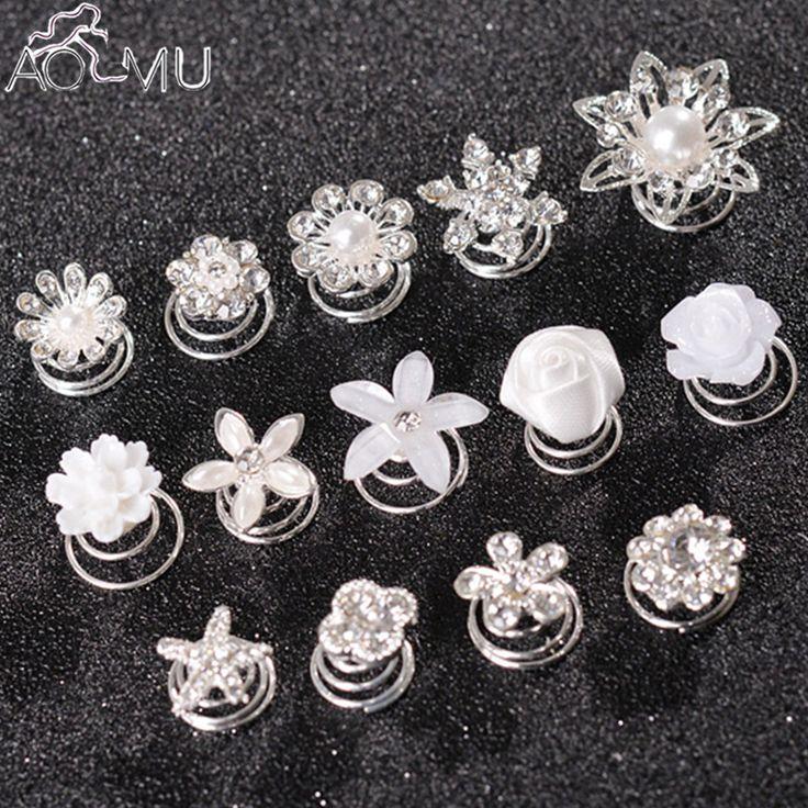 Günstige AOMU Prom Kristall Perle Blume Haar pins Spirale Twist Mädchen Schnee… – Lenchen Meinhardchen