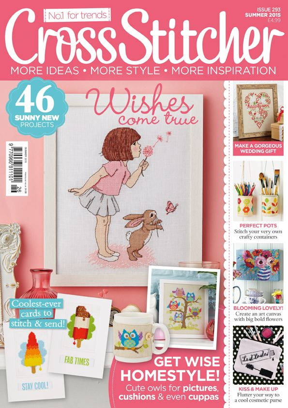 Summer 2015 issue (number 293). Includes a Belle & Boo picture, modern storage tins, ice lolly cards, rainbow swallow picture and free biscuit coasters kit.