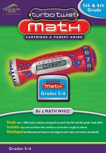 """Turbo Twist Math: 5th and 6th Grade Math - Cartridge and Parents Guide by LeapFrog Toys. $10.39. Help your student twist, jam and """"play"""" their way through math with this 5th and 6th grade math cartridge for the TurboTwist by LeapFrog. Developed by educational experts, and aligned with state curriculum standards, kids will be challenged with over 1,000 math questions. Included parent guide is full of tips and activities for helping improve your child's math skills at hom..."""