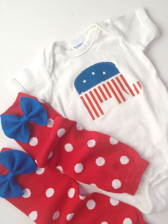 republican elephant onesie with red and white polka dot baby leg warmers with blue bow. $25.00, via Etsy.