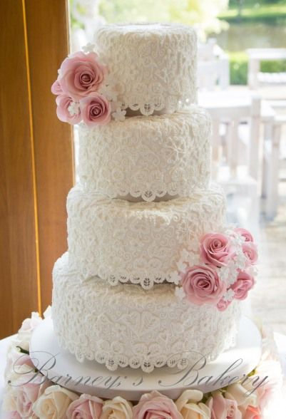 White Lace Beauty wedding cake  ~ all edible