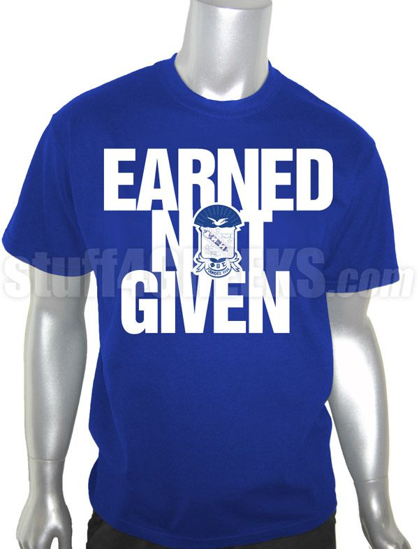 "Phi Beta Sigma ""Earned Not Given"" Screen Printed T-Shirt, Royal Blue"