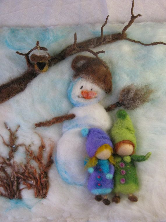Needle felted tapestry Winter time waldorf by Made4uByMagic