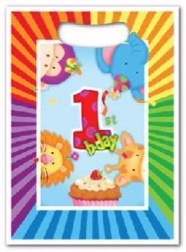 1ST FIRST BIRTHDAY BOY GIRL PARTY SUPPLIES - JUNGLE SAFARI ANIMALS BAGS PK10 Aus in Home & Garden, Parties, Occasions, Favours   eBay