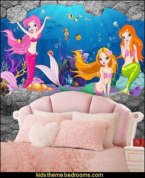 Best Seashell Headboard Mermaid Wallpaper Mural Fuzzy Bedding 400 x 300