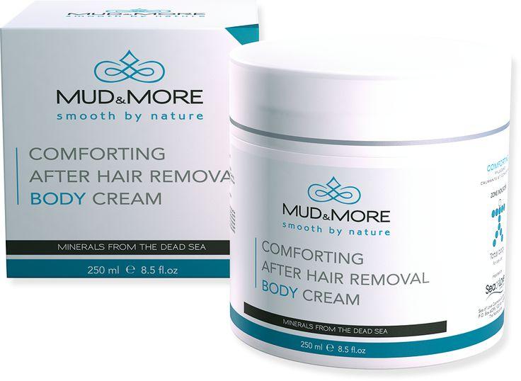 Mud En More Comforting After Hair Removal Body Cream is een verzorgende body crème met mineralen uit de Dode Zee. Een kalmerende, verzorgende en subtiel geparfumeerde body crème. Verzacht, voedt en hydrateert de huid, waardoor deze glad, verzorgd en comfortabel aanvoelt. Ideaal na elke vorm van ontharing, zoals ontharingscrème, laser en wax. Heeft een koelende en verzachtende werking op de geïrriteerde (rode) huid.