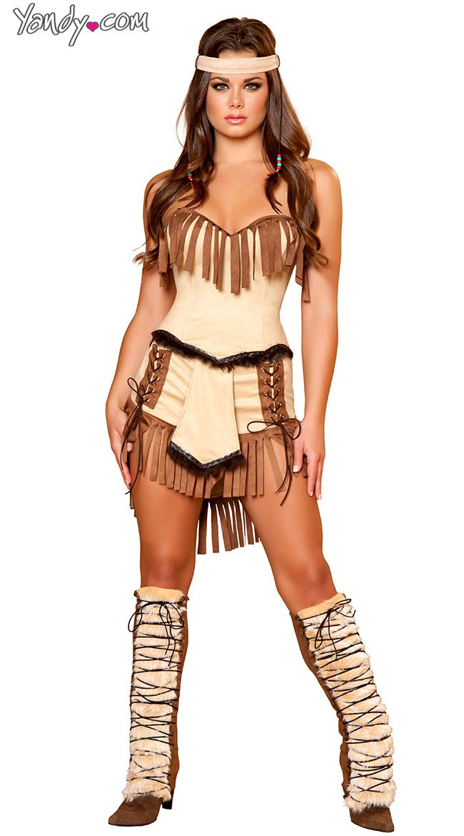 Indian Mistress Costume, Suede Indian Costume, Womens Indian Halloween Costume