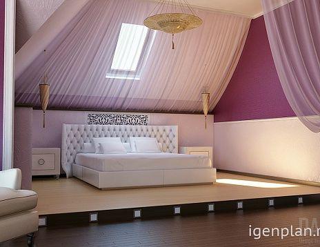 Спальня с балдахином и подиумом. Автор дизайна дома: Надежда Горбатова. #дизайнинтерьера #igenplan #дизайндома  #интерьердома #спальни