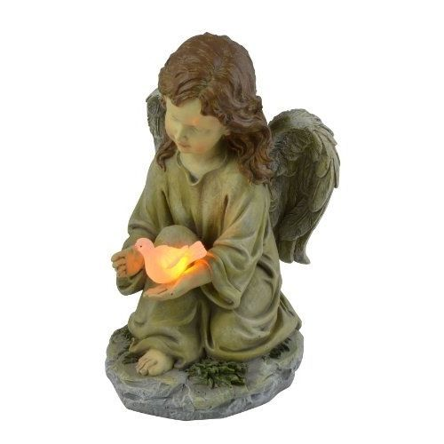 Angel Statue Glowing Pigeon Figure Solar Powered LED Light Yard Garden Decor 9In #Moonrays